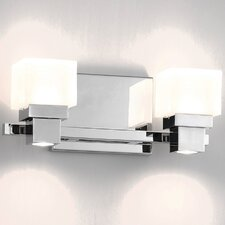 Kube Chrome 2 Light Etched LED Wall Sconce with Downlight