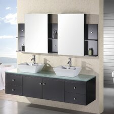 "Portland 72"" Floating Double Bathroom Vanity Set with Mirror"