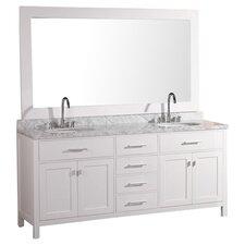 """London 72"""" Double Bathroom Vanity Set with Mirror"""