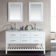 """London 61"""" Double Bathroom Vanity Set with Mirror"""
