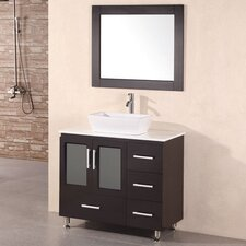 "Milan Stanton 36"" Single Modern Bathroom Vanity Set with Mirror"