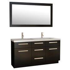 """Moscony 60"""" Double Bathroom Vanity Set with Mirror"""