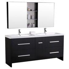 """Perfecta 72"""" Double Bathroom Vanity Set with Mirrors"""