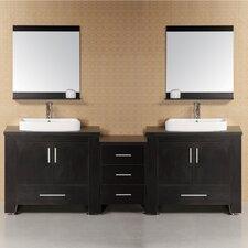 "Washington 96"" Double Modern Bathroom Vanity Set with Mirror"