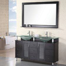 """Redondo 61"""" Double Bathroom Vanity Set with Mirrors"""