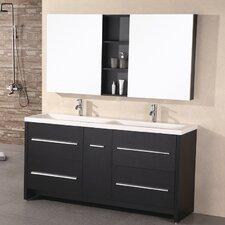"""Perfecta 63"""" Double Bathroom Vanity Set with Mirrors"""