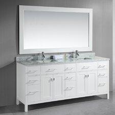 """London 78"""" Double Bathroom Vanity Set with Mirror"""