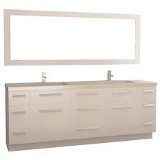 """Moscony 84"""" Double Bathroom Vanity Set with Mirror"""