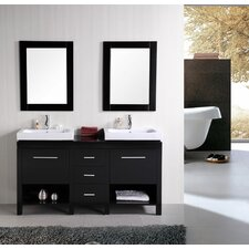 """New York 60"""" Double Bathroom Vanity Set with Mirror"""