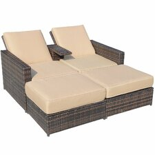Outsunny Double Chaise Lounge with Cushion