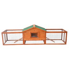 "Pawhut 122"" Deluxe Wooden Rabbit Hutch/Chicken Coop with Double Outdoor Runs"
