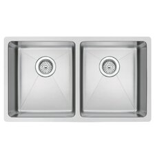"SS-U-3118A 31"" X 18"" 50/50 Double Bowl Stainless Steel Hand Made Undermount Kitchen Sink With Coved Corners"