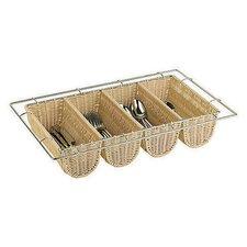 Polyrattan 4 Compartment Flatware Basket
