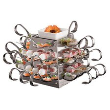 Stainless Steel Buffet Display with 24 Spoons and Skewers