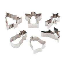 6 Piece Stainless Steel Christmas Cookie Cutter Set (Set of 2)