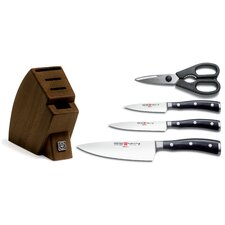 Classic Ikon 5 Piece Knife Block Set in Brown