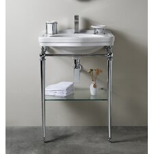 Florian Londra Console Table Bathroom Sink with Towel Bar and Shelf