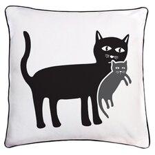 Animal Instinct Cat and Kitten Reversible Cotton Throw Pillow