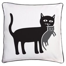 Animal Instinct Cat and Kitten Reversible Cotton Throw Pillow
