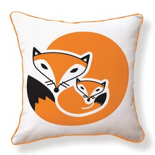 Fox and Her Baby Double Sided Cotton Throw Pillow