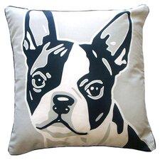 Doggie Style Reversible Boston Terrier Cotton Throw Pillow