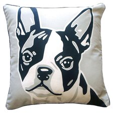Doggie Style Reversible Boston Terrier Cotton Throw Pillow