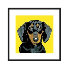 Black Dachshund Framed Graphic Art