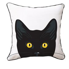 Yellow Eyes Cat Reversible Cotton Throw Pillow