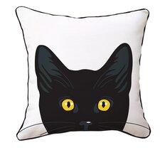 Yellow Eyes Cat Reversible Cotton Throw Pillow