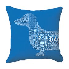 Dachshund Typography Cotton Throw Pillow