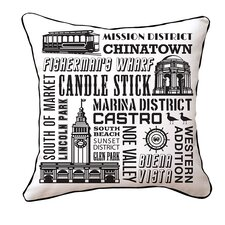 San Francisco Neighborhoods Cotton Throw Pillow