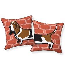Basset Hound Cotton Throw Pillow