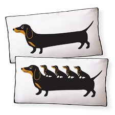 Dachshund Puppies Cotton Boudoir/Breakfast Pillow