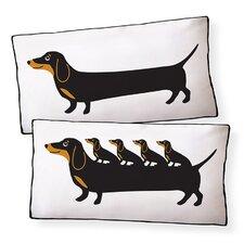 Dachshund Puppies Cotton Boudoir/Breakfast Pillow