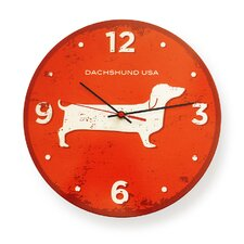 "Dachshund 12"" USA Round Wall Clock"