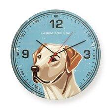 "12"" Labrador USA Round Wall Clock"