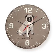 "12"" Hug A Pug Round Wall Clock"