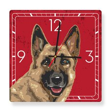 German Shepherd Square Clock