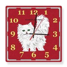 Cuddle Time White Persian Cat Square Clock