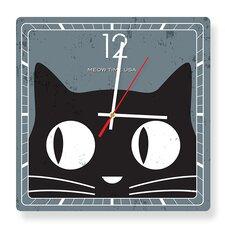 Meow Time Black Cat Square Clock