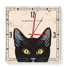 Purrfect Time Yellow Eyes Cat Square Clock