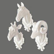 3 Piece Giraffe/Ram/Horse Wall Décor Set