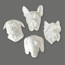 4 Piece Pug/West Highland/Dachshund/Boston Doggie Wall Décor Set