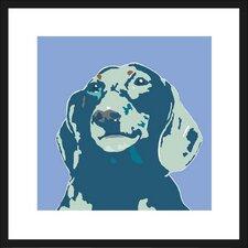 Blue Dachshund Framed Graphic Art