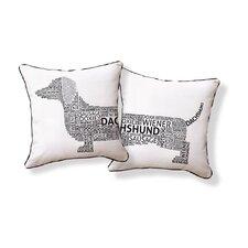 Dachshund Typography Cotton Throw Pillow