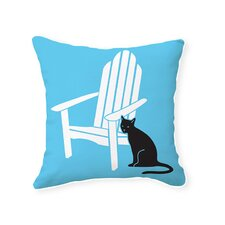 Adirondack Chair with Cat Reversible Cotton Throw Pillow