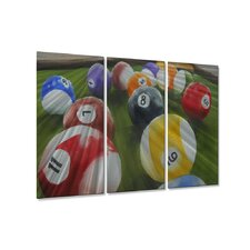 Billiards Game Room by Rick Peterson 3 Piece Original Painting Set