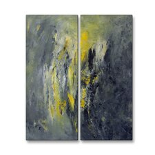 'Eclectic Storm' by Mary Lea Bradley 2 Piece Painting Print Plaque Set