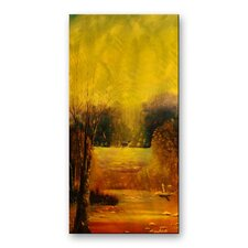 'Gold Reflection' by Lorenzo Roberts Painting Print Plaque