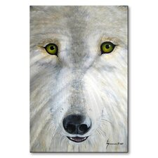 'White Wolf Face' by Jerome Stumphauzer Painting Print Plaque